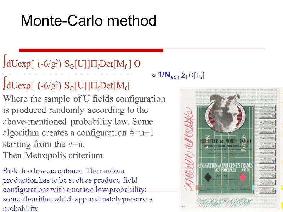 Monte-Carlo method dUexp[ (-6/g2) SG[U]]fDet[Mf ] O